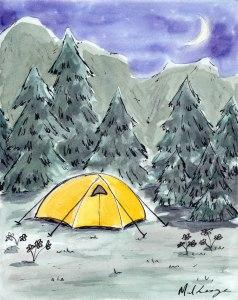 May Camping sample Marla Lesage Watercolour Workshop
