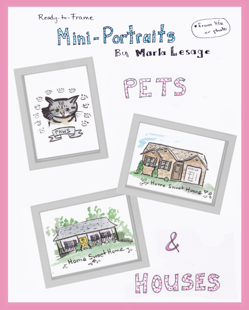 mini-portraits pets and houses