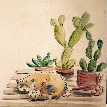Cat & Cactus, SOLD